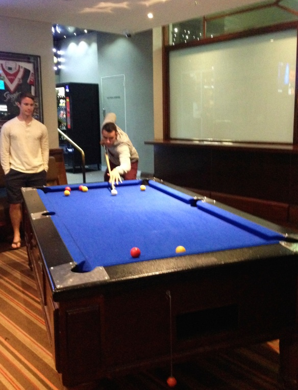 Richard and Jimmy, our roommate, playing some pool at The Coogee Bay Hotel.