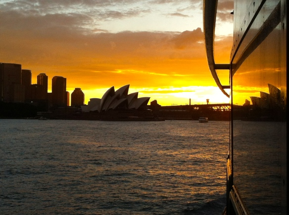 Sunset ferry ride back from Manly Beach to downtown Sydney