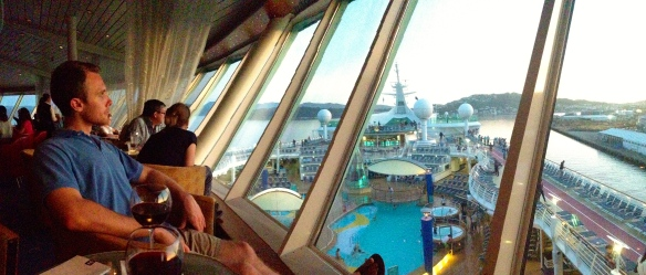 View from our favorite happy hour spot on the ship