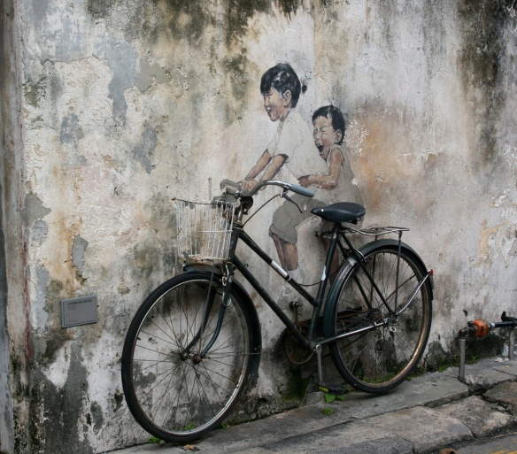 """""""Little Children on a Bicycle"""" - Penang Street Art"""
