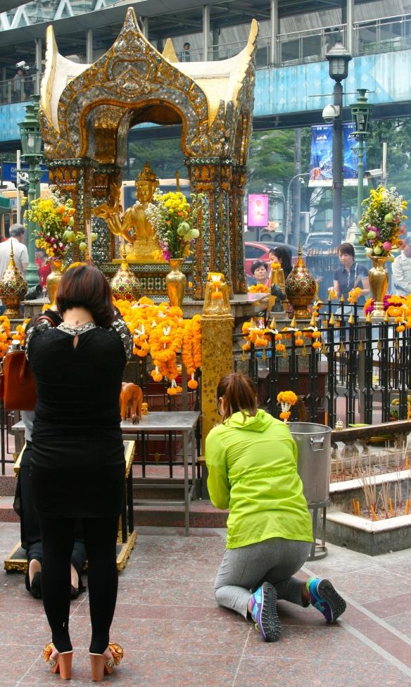 Worshippers at the Erawan Shrine