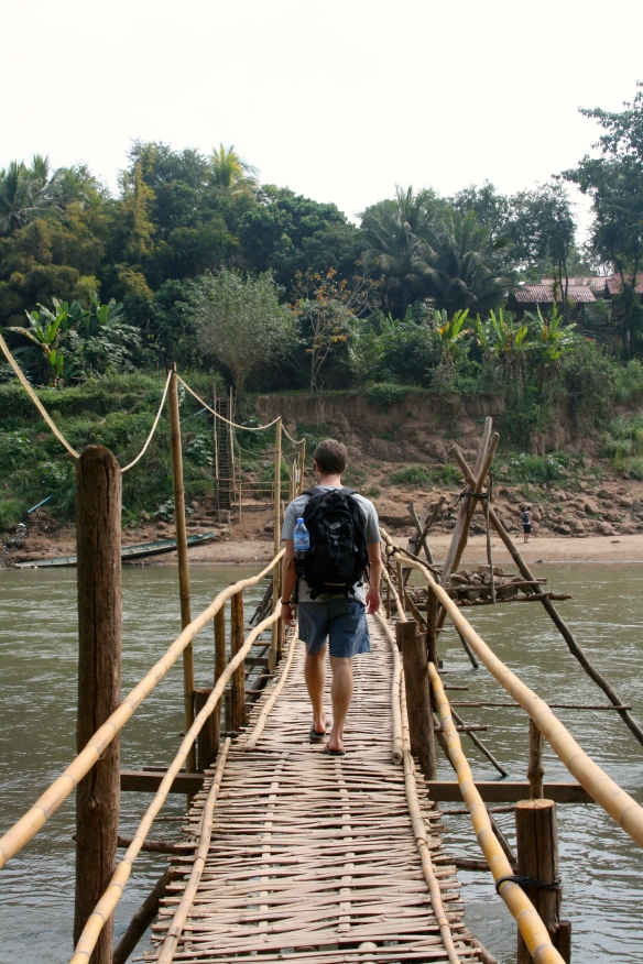 Bamboo bridge that is rebuilt each year due to the river's rising waters