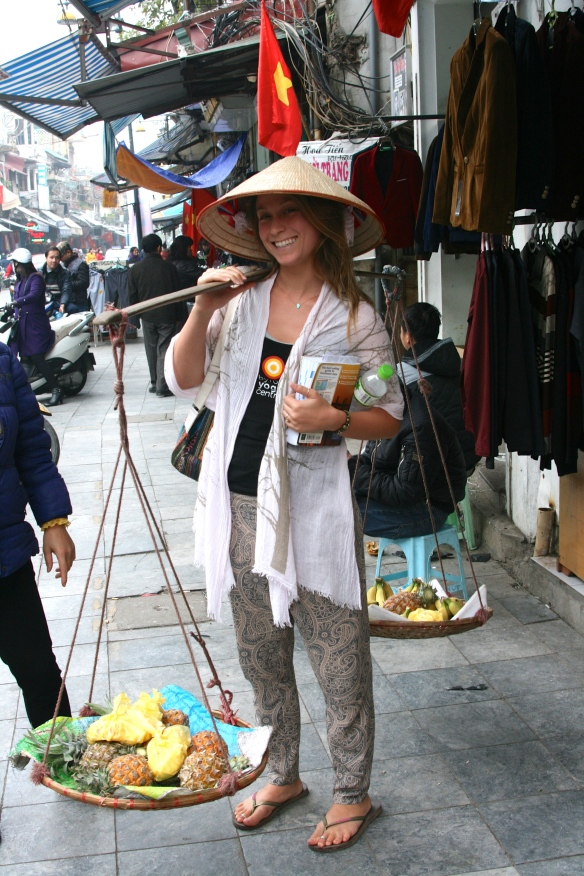 "Vietnamese selling tactic: ""heavy heavy"" - places on your shoulder despite the ""no thank you's"" - sells you fruit in return."
