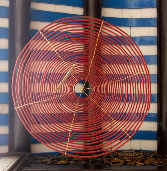 Circular incense coils that burn for an entire month