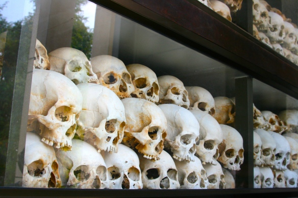 The  Choeung Ek Memorial is filled with victim's skulls.